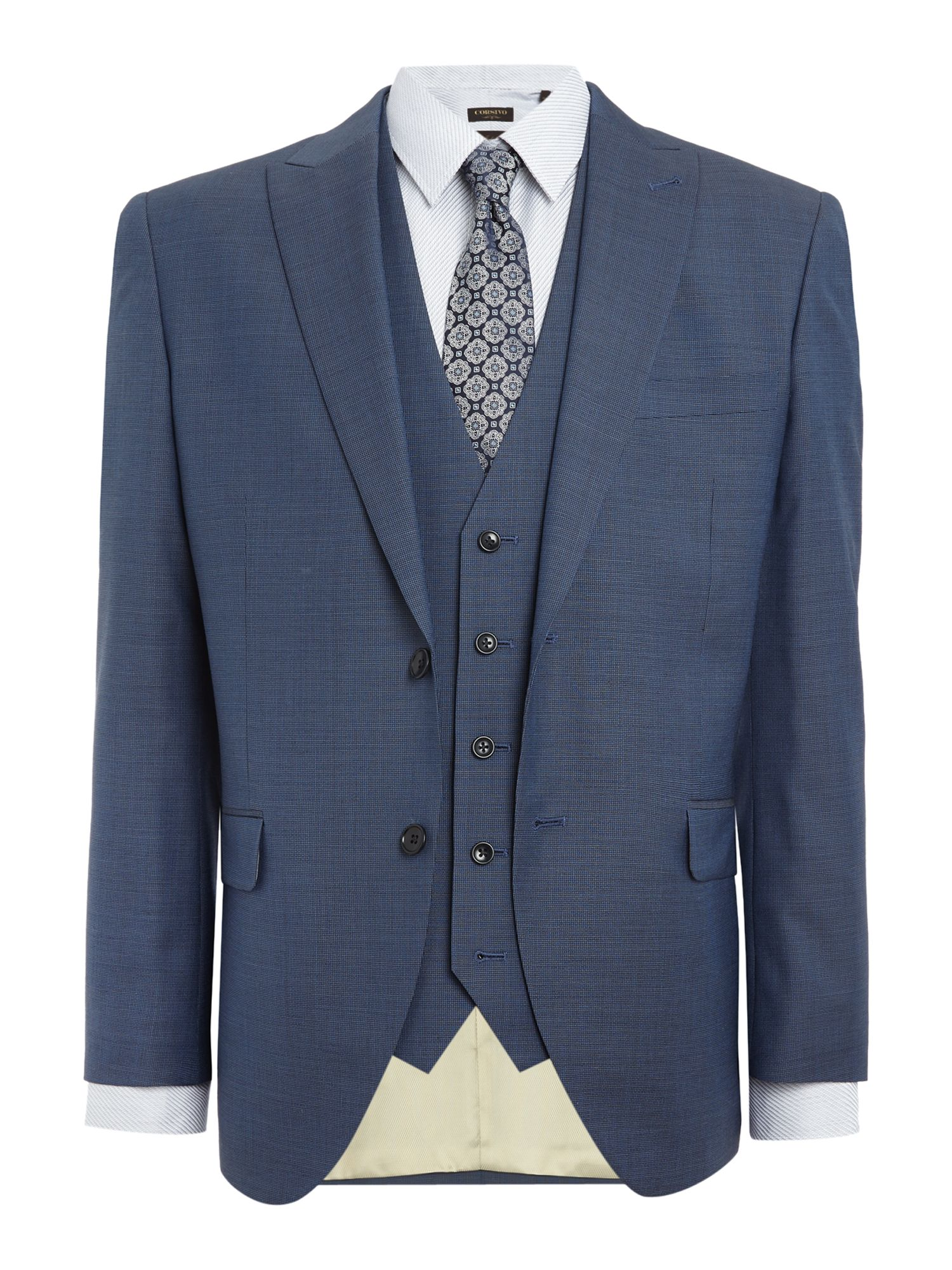 Men's Corsivo Santo Italian Wool Textured Suit Jacket, Blue