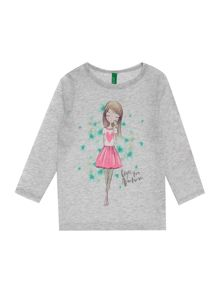 Benetton Girls Glitter bird graphic