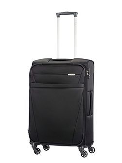 Auva black 4 wheel soft medium spinner suitcase