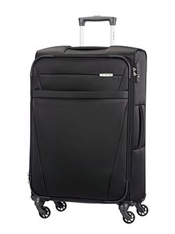 Auva black 4 wheel soft large spinner suitcase