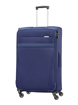 Auva blue 4 wheel soft large spinner suitcase