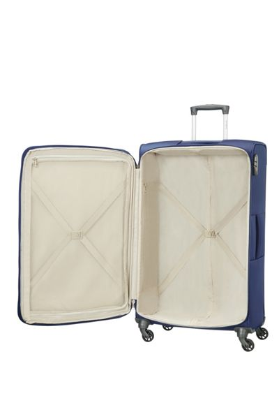Samsonite Auva blue 4 wheel soft large spinner suitcase