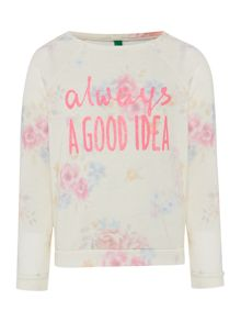Benetton Girls Floral print sweat