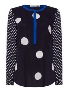 Oui Long sleeve collarless spot blouse