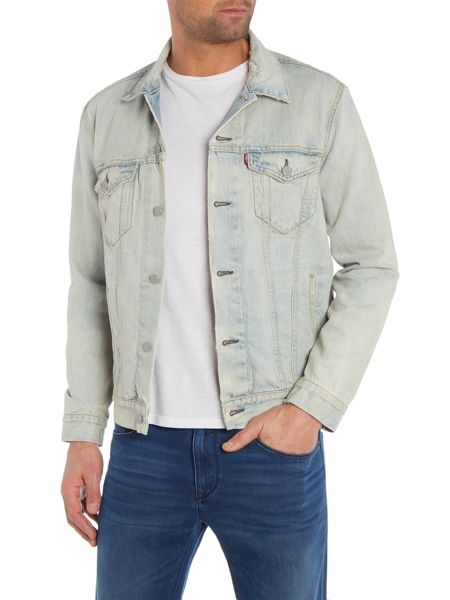 Levi's Distressed Light Wash Button Up Trucker Jacket