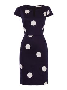 Short sleeve spot fitted dress
