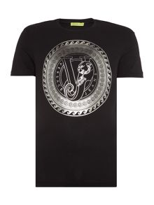 Versace Jeans Slim fit round foil logo printed t shirt