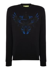 Versace Jeans Crew neck embroidered logo sweatshirt
