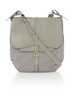 Grosvenor nylon grey medium flap over cross body