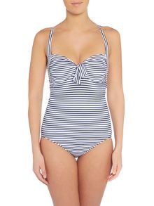 Seafolly Riviera stripe soft cup halter swimsuit