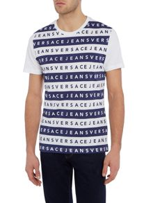 Versace Jeans Slim fit stripe logo printed t shirt