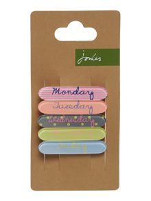 Joules Girls Days of the week hair clips