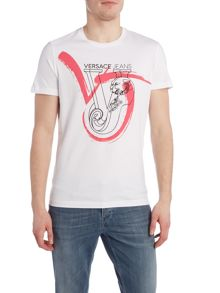 Versace Jeans Regular fit brush stroke logo printed t shirt