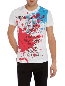 Slim fit paint splatter print t shirt