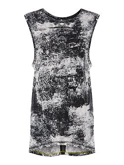 Textured printed sleeveless top