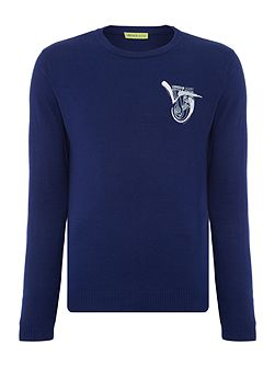 Regular fit crew neck brush stroke logo jumper