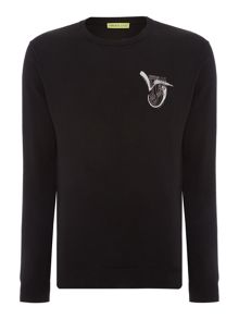 Versace Jeans Regular fit crew neck brush stroke logo jumper