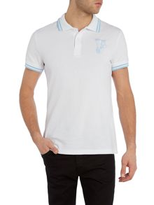 Versace Jeans Slim fit tipped collar logo polo shirt