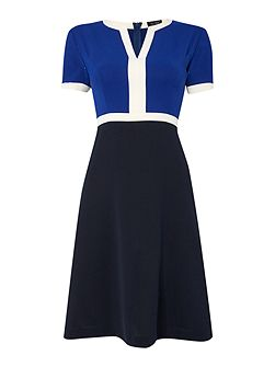 Short sleeve colour block fit and flare dress
