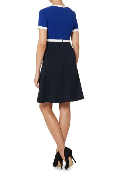 Armani Jeans Short sleeve colour block fit and flare dress