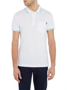 Versace Jeans Slim fit tipped collar pocket polo logo shirt