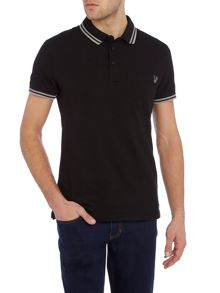 Slim fit tipped collar pocket polo logo shirt