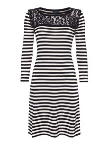 3/4 sleeve stripe knit dress with lace detail