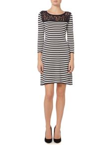 Armani Jeans 3/4 sleeve stripe knit dress with lace detail