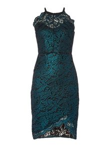 Lipsy Sleeveless Lace High Neck Bodycon Dress