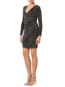 Lipsy Long Sleeved V Neck Glitter Bodycon Dress