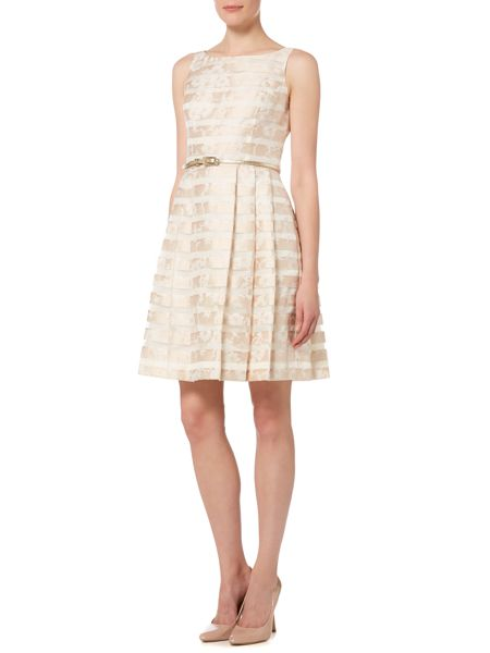 Untold Fit and flare stripe jacquard dress