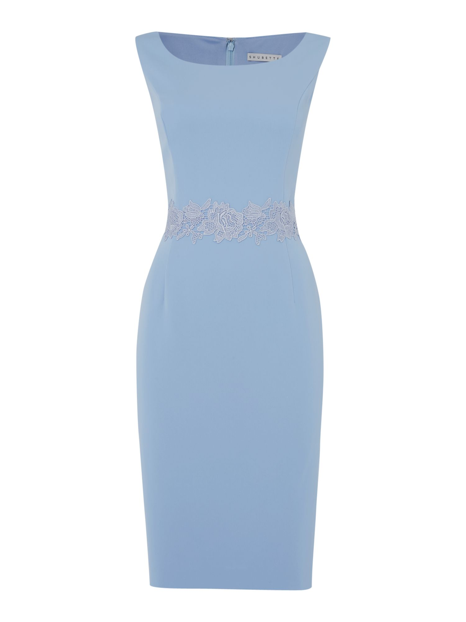 Shubette Crepe dress with guipure trim, Light Blue