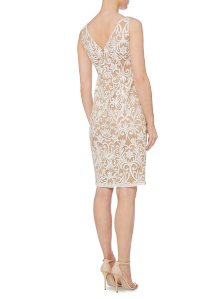 Adrianna Papell Evening short sleeveless floral beaded dress