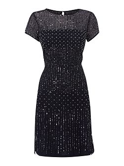 Evening short beaded with peal dress