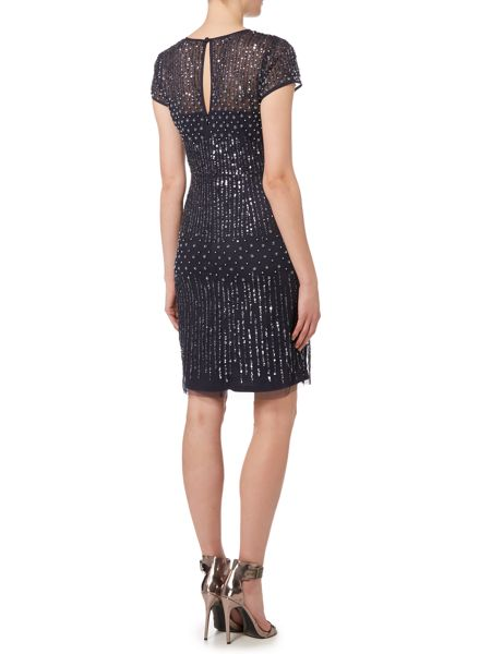 Adrianna Papell Evening short beaded with peal dress