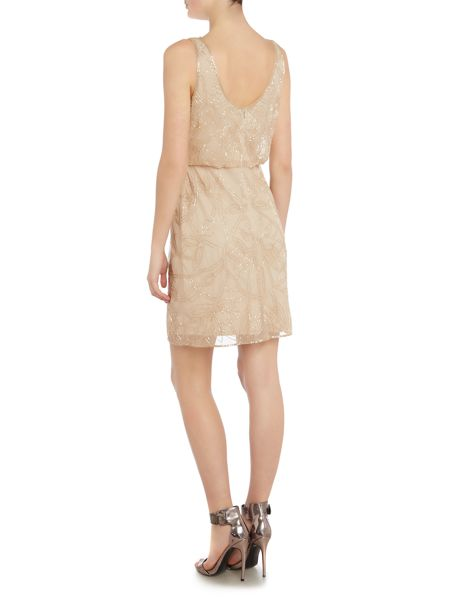 Adrianna Papell Evening short sleeveless layered beaded dress