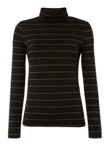 Glitter stripe roll neck