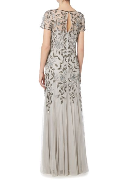 Adrianna Papell Evening long cap sleeve beaded gown