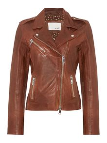 Zip up leather jacket