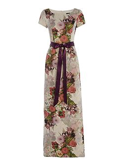 Evening long floral maxi with tie waist