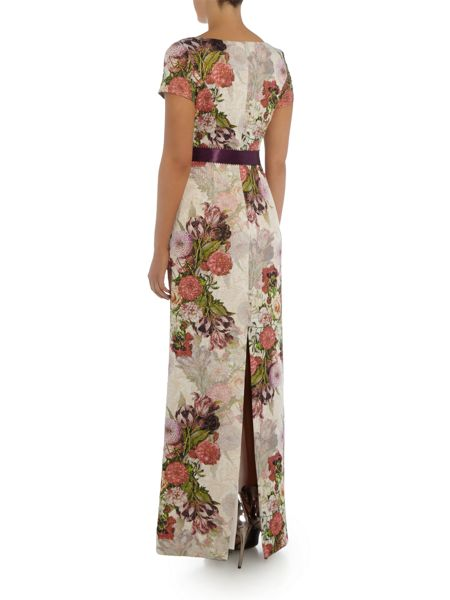 Adrianna Papell Evening long floral maxi with tie waist