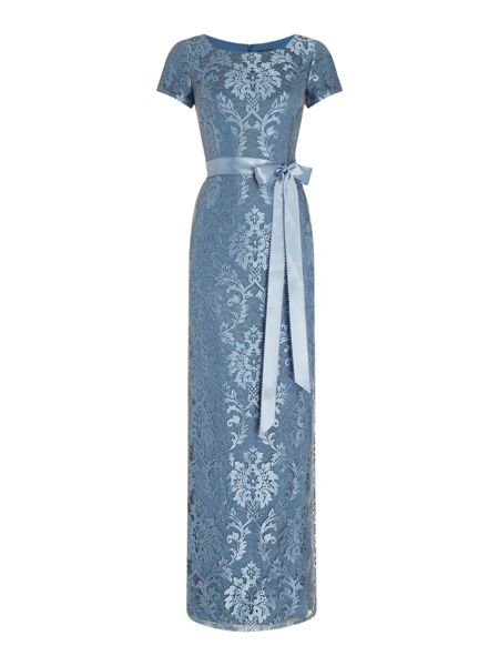 Adrianna Papell Evening long lace gown with sash