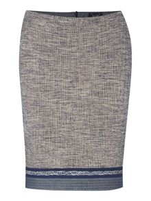 Tweed pencil skirt with plait trim detail