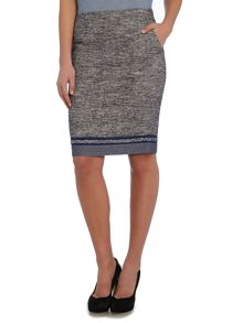Armani Jeans Tweed pencil skirt with plait trim detail