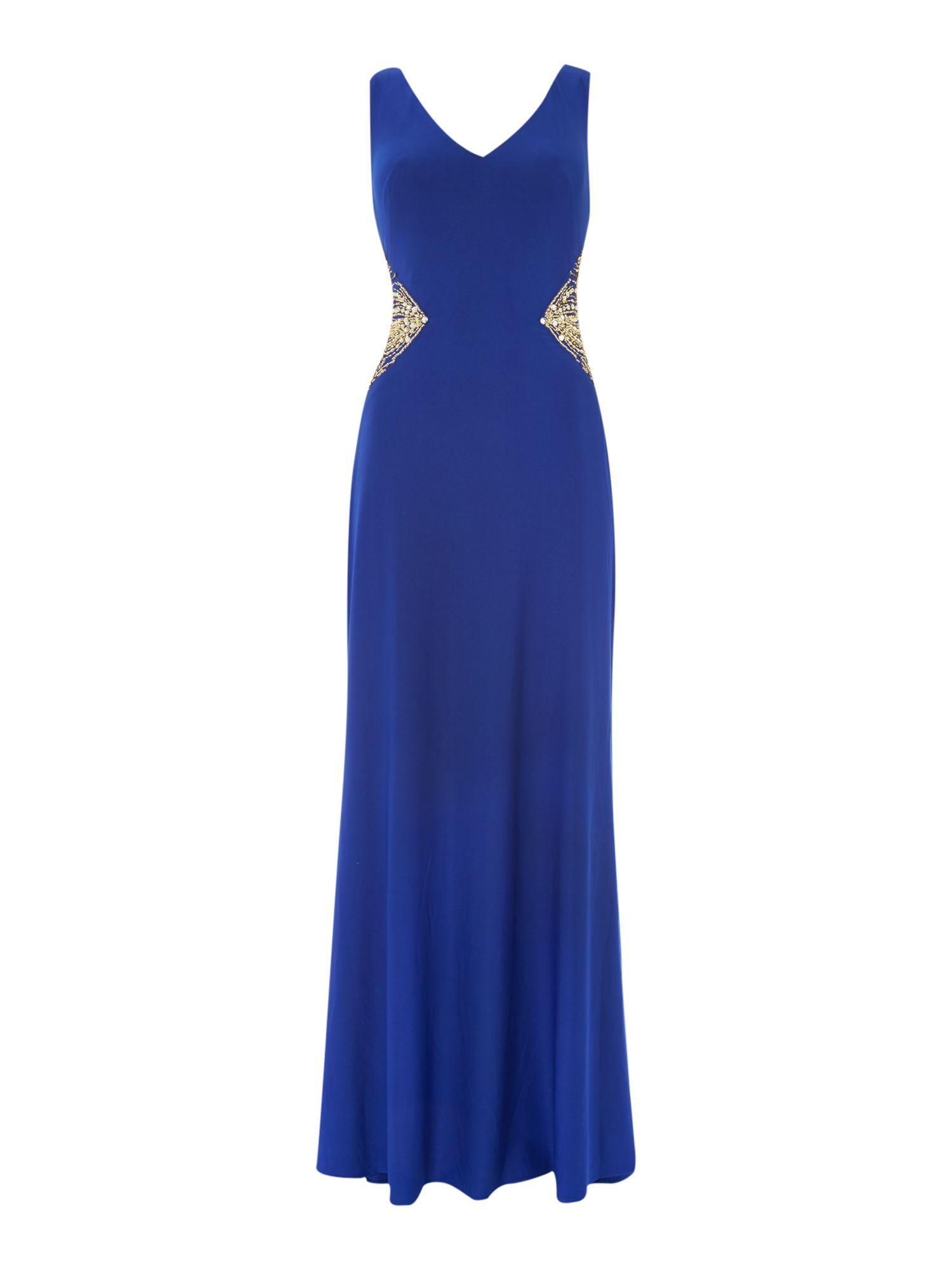 JS Collections V neck gown with beaded side inserts, Cobalt