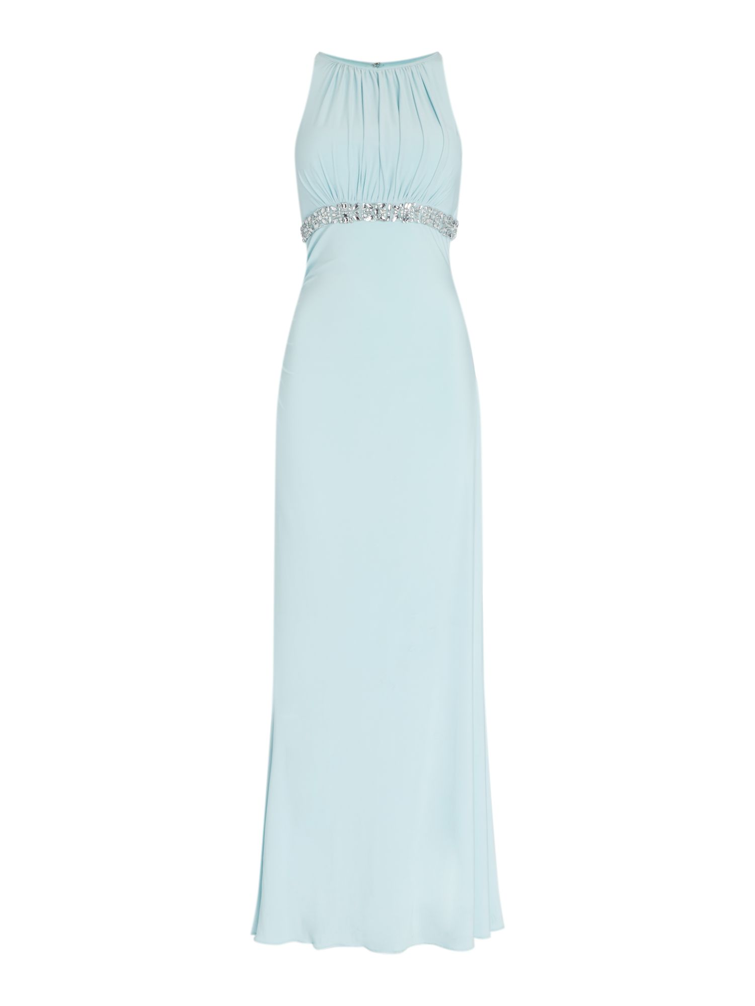 JS Collections Jersey gown with beaded waistband, Aqua