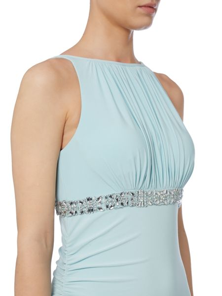 JS Collections Jersey gown with beaded waistband