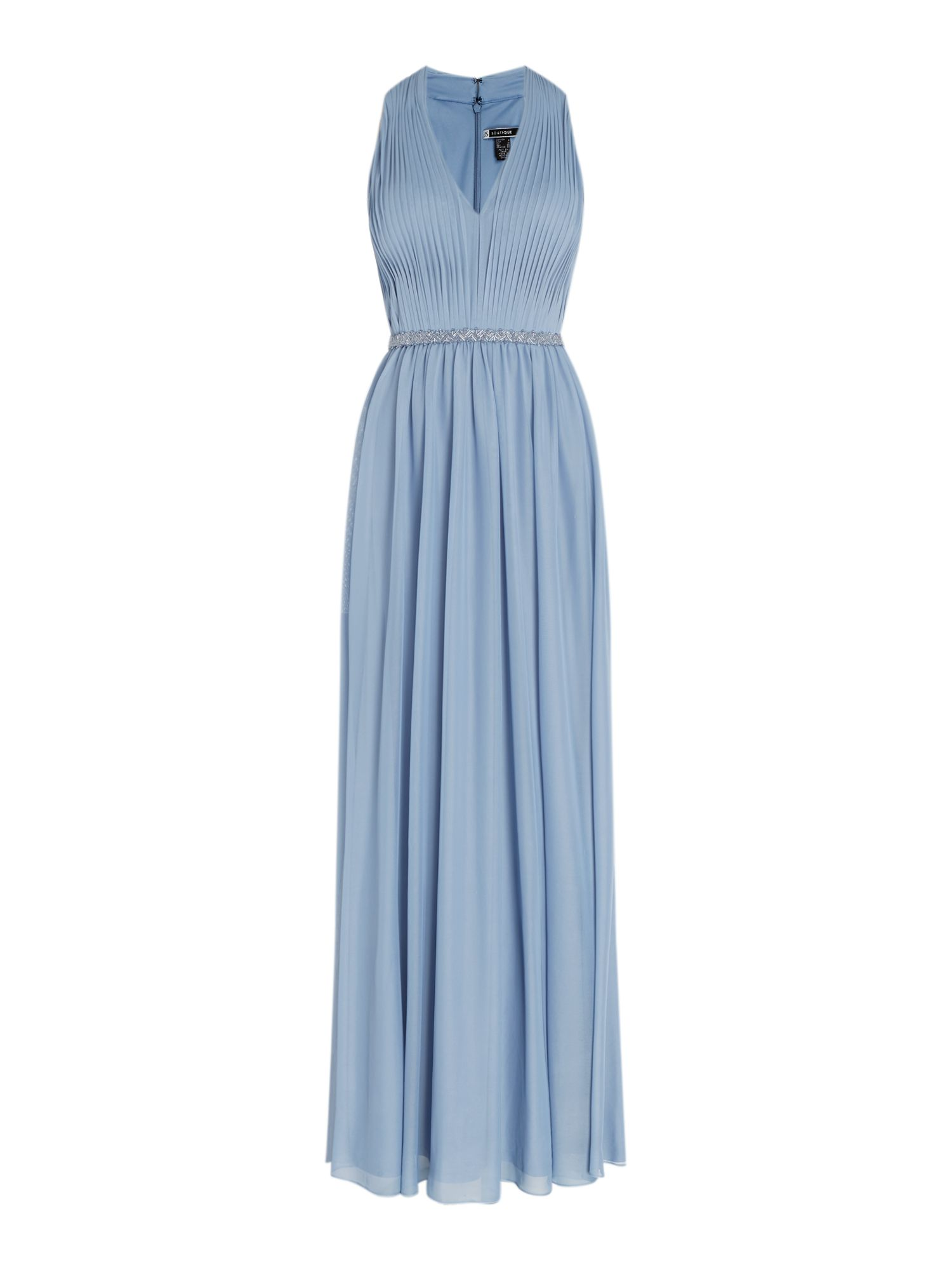 JS Collections Halter neck gown with pleated front, Blue