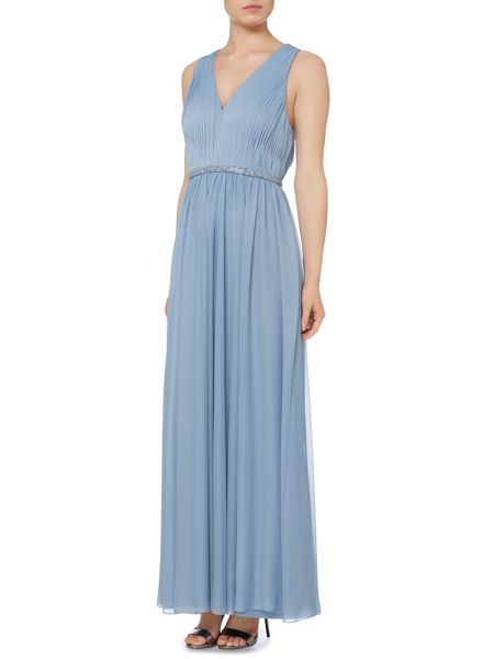 JS Collections Halter neck gown with pleated front