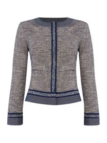 Armani Jeans Tweed plait trim detail jacket